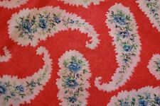 Vintage 1970s Red White Paisley Blue Flower Print Cotton Fabric Yardage Material