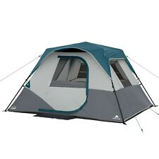 """Ozark Trail 6-Person Instant Cabin Tent with LED Lighted Poles 10'L x 9'W x 66""""H"""