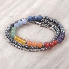 7 Chakra 3 Bracelet Set, Hematite, Stainless steel, Reiki, Gemstone, Rainbow