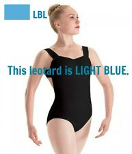 Motionwear 2664 Girls' Size Large Light Blue Pinch Front Wide Strap Leotard