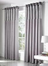 1 PR SAVOY FULLY LINED FAUX SILK & VELVET BORDER RING TOP EYELET CURTAINS