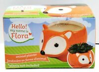 FLORA FOX Ceramic Animal Planter Pot - Home Table Top or Kitchen Decoration