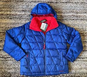 LL BEAN DOWNTEK Youth Kids Winter Jacket Ski Coat Hooded Puffer XL 18 Blue