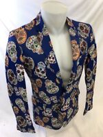 Mens SUSLO COUTURE SKULL Jacket ENTERTAINER PERFORMER MUSICIANS BLUE SLIM FIT