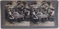 Suisse Switzerland Paysans à table Photo Stereo Vintage Argentique