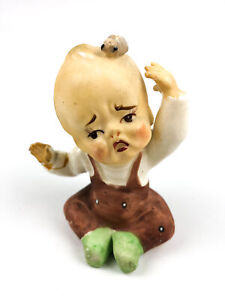 Occupied Japan Bisque Porcelain Crying Kewpie Doll Baby Toddler Bug on Head