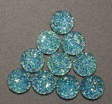 10 x 12 mm 'TURQUOISE' Druzy effect Flat backed Cabochons      (g502)