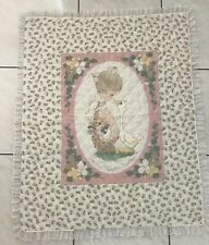 Hand Quilted Precious Moments Crib Quilt Coverlet Blanket Pink White Floral