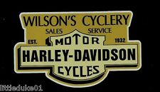 EST 1932 WILSONS CYCLERY Vinyl DECAL STICKER HARLEY DAVIDSON TRIUMPH MOTORCYCLE