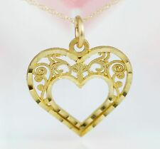Sale! 10K Solid Gold Royal Double Heart Pendant Chain Necklace Jewelry For Women