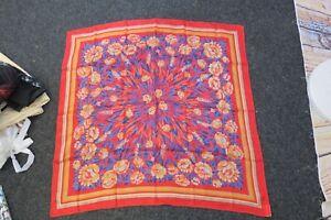 "Bright Red Floral Silk Headscarf  Scarve Pashmina Bandana 31"" x 33"""
