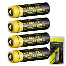 4 Nitecore 14500 750 NL147 3.7v Protected Li-ion Rechargeable Battery Button top