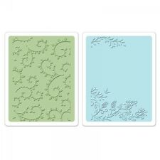 Sizzix set of 2 Embossing Folders size A6   Garden Set 658485 flowers and leaves