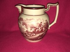 Staffordshire Dated Pitcher 1819 Dogs Horse Rabbit Hunting Transfer Bacchus