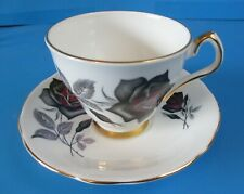 WINDSOR CUP & SAUCER  BLACK ROSES  NICE GOLD TRIM  EXCELLENT CONDITION