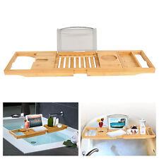 Bathtub Caddy Bamboo Bath Tub Rack Tray Bathroom Cloth Book Pad Tablet Holder