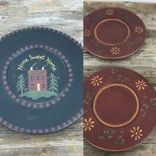 The Hearthside Collection Plates Wooden Country Primitive Lot of 3