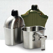 Military Stainless Steel Canteen + Cup Army Mess Kit Green Nylon Cover & Belt