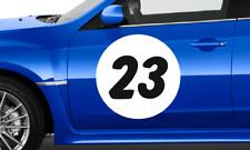 3 x Track Car Roundels Number Rally Car Door Stickers Vinyl Circle Race Car