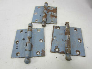 3 Antique Blue Painted Ball Top Hinges HI#21