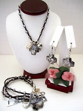 "Brighton ""KARMA CROSS"" Neutral Necklace-Earring-Bracelet Set (MSR$174) NWT/Pouch"