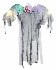 Hanging White Winged Reaper Halloween Prop Zombie Sounds Animated Haunted House