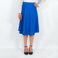 High Waisted Below Knee Length Textured Flared Midi Skater Skirt