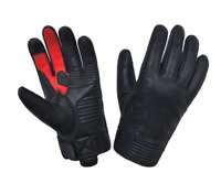 Mens Black Leather Motorcycle Gloves With DuPont™ Kevlar™ lined palm 8160