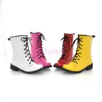 Womens Punk Goth Sweet Lace Up Military Combat Shiny Leather ANkle Boots Autumn