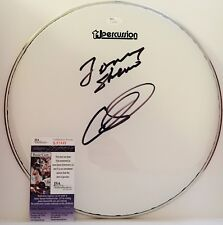 "CHRIS LAYTON TOMMY SHANNON Double Trouble signed autograph JSA COA 13""Drumhead"