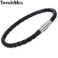 4mm Black Braided Cord Rope Leather Bracelet Unisex Men Stainless Steel Clasp