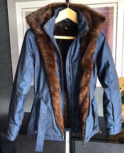 Wellensteyn Zermatt Ladies Navy Hooded Outdoor Cosy Winter Coat Size Small New