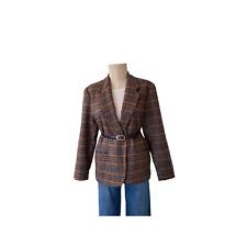 Vintage 1990s oversized Plaid Wool Blazer size 12 Bust 44