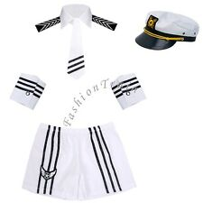 Sexy Mens Adult Sailor Navy Uniform Halloween Costume Outfit Cap Collar Tie Cuff