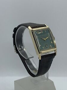 Paul Breguette Wrist Watch 14k Solid Gold With Genuine Lizard Strap