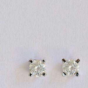 GENUINE DIAMOND STUD EARRINGS. 2 X 10 POINT NATURAL DIAMONDS SOLID 9K WHITE GOLD