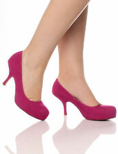 Womens Mid Heel Casual Smart Work Pump Ladies Court Shoes Size 3-8 Fuchsia Suede 38 UK 5