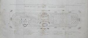 1810 PLAN LONDON BOTANIC GARDEN SLOANE STREET DESIGN BY WILLIAM SALISBURY