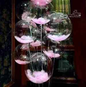 Clear Balloon Stuffed Pink Feathers 18'' Birthday Decor Baby Girl Boy Wedding x1