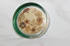 "Vintage Glass With Dried Flowers Leaves Round Paperweight 3 "" X 7/8"""