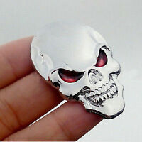 Silver 3D Skull Skeleton Car/Motorcycle Decal Devil Metal Sticker Emblem Badge