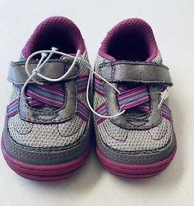 Baby Girl Surprize by Stride Rite First Walkers Size 2 Purple gray Sneaker Shoe