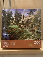"CORNER PIECE 500  JIGSAW PUZZLE  ""SUNDAY CRICKET"" NEW UNOPENED  FREE POST"