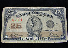 1923 25 Cent Fractional Currency Dominion of Canada Note 1923 Series Shinplaster