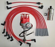 FORD 351C/M-400-429-460 RED Small HEI Distributor + 45K Coil + SPARK PLUG WIRES