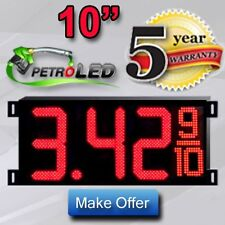 """LED GAS PRICE SIGN DIGITAL CHANGER (2) 10"""" Red - Complete Package 2 Signs"""