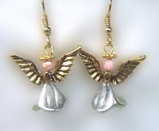 Gold Angel Earrings with Rhodochrosite
