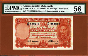 Australia 10 Shillings Coombs/Watt 1949 Pick- 25c PMG 58 Ch Abt UNC