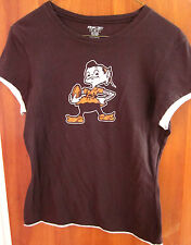 CLEVELAND BROWNS juniors small T shirt football throwback tee brownie mascot OG