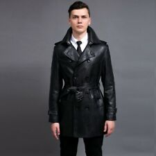 Men's Leather Overcoat Jacket Trench Coat Belted Lapel Business Double Breasted